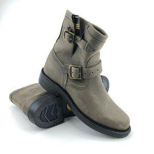 "Chippewa Raynard 7"" Grey Leather Engineer Boots 6M"